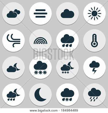 Climate Icons Set. Collection Of Lightning, Weather, Snowy And Other Elements. Also Includes Symbols Such As Sunny, Moonlight, Thermometer.