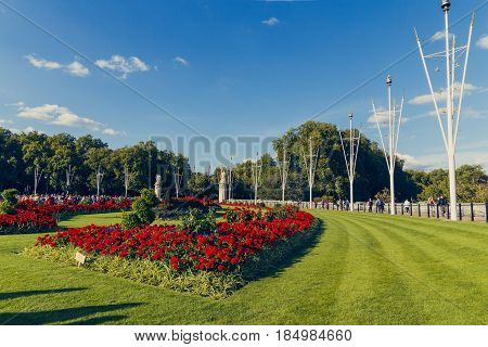 Floral Arrangements In Front Of Buckingham Palace