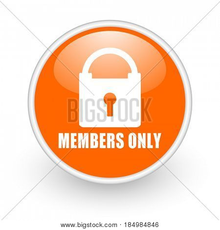Members only modern design glossy orange web icon on white background.