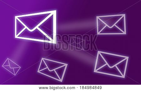 Purple Colorful illustration of Internet. Sending emails. Connected email messages, Email marketing, newsletters