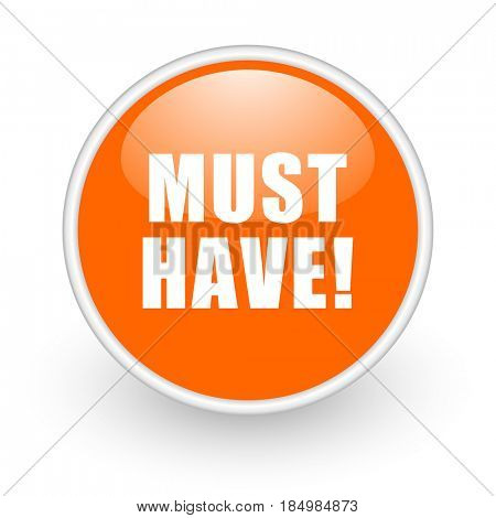 Must have modern design glossy orange web icon on white background.