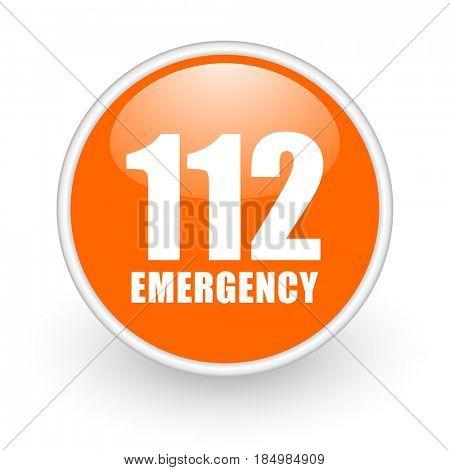 Number emergency 112 modern design glossy orange web icon on white background.