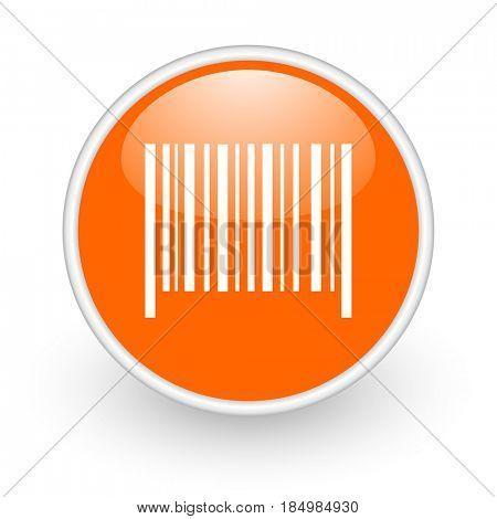 Barcode modern design glossy orange web icon on white background.