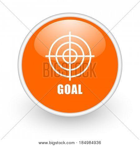 Goal modern design glossy orange web icon on white background.
