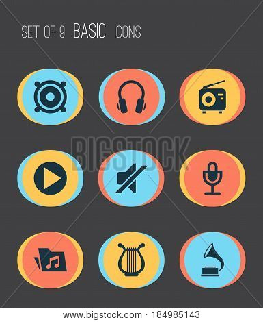 Audio Icons Set. Collection Of Phonograph, Earphone, Silence And Other Elements. Also Includes Symbols Such As Antique, Mute, Phonograph.