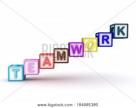 3D illustration of letter cubes spelling out teamwork. Image can be used in any situation where teamwork needs to be emphasized.