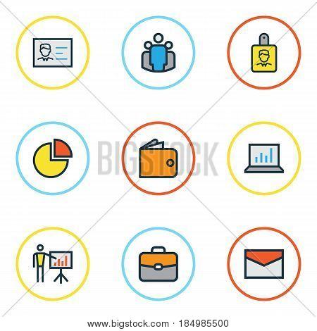Trade Colorful Outline Icons Set. Collection Of Report Demonstration, Team, Identification Document And Other Elements. Also Includes Symbols Such As Portfolio, Statistics, Envelope.