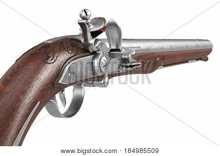 Pistol gun old weapon metal collectible, close view. 3D rendering