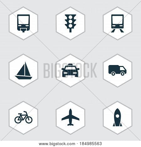 Transportation Icons Set. Collection Of Railroad, Cab, Truck And Other Elements. Also Includes Symbols Such As Yacht, Airplane, Velocipede.