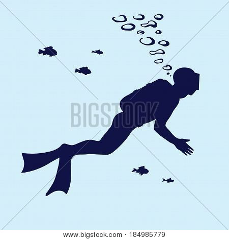 Silhouette of scuba diver swimming in the water and small fish. Stock vector on a blue background.