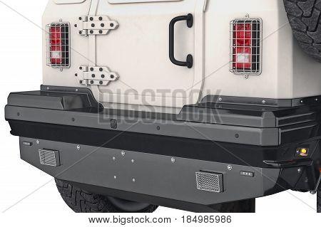 Car automobile track black bumper, close view. 3D rendering