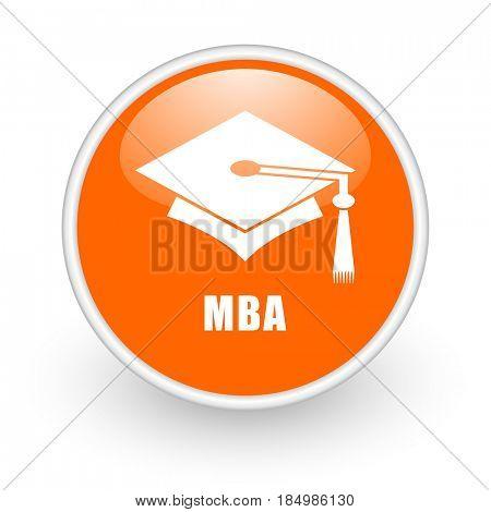 Mba modern design glossy orange web icon on white background.