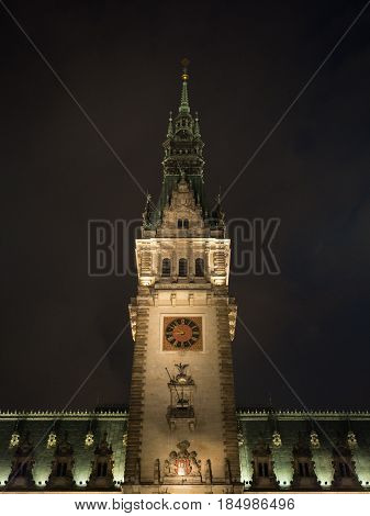tower from the town hall in hamburg germany