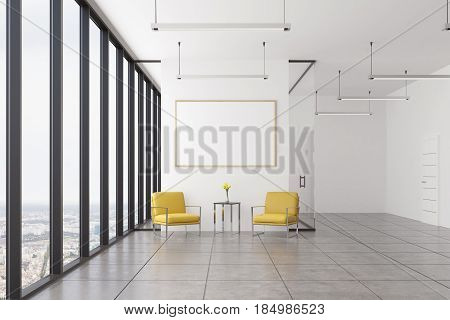 Empty office waiting area with two yellow armchairs standing near a coffee table and a framed horizontal poster hanging above it. 3d rendering mock up toned image