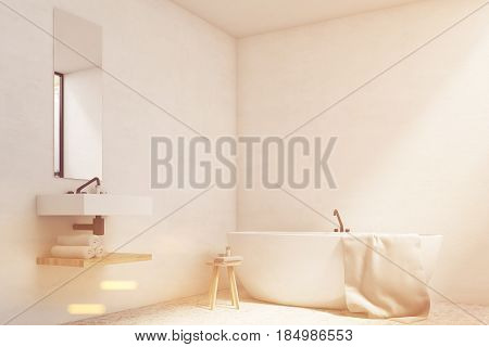 White bathroom interior with a sink a mirror hanging above it and a white tub standing near a wall. 3d rendering mock up toned image
