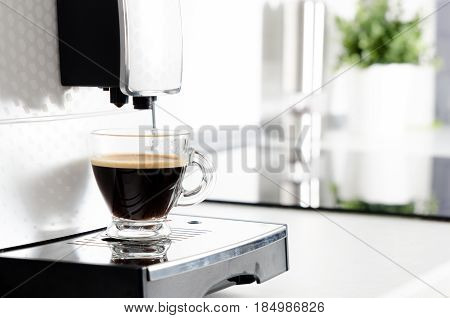 Home Professional Coffee Machine With Espresso Cup.