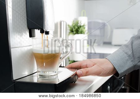 Home Professional Coffee Machine With Cappuccino Cup.