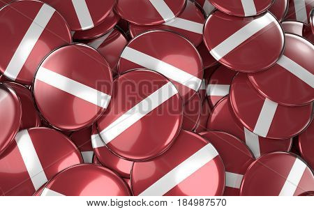 Latvia Badges Background - Pile Of Latvian Flag Buttons.