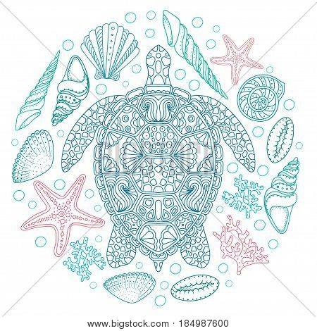 Sea turtle and shells seastar coral in line art style. Hand drawn vector illustration. Design for coloring book. Set of ocean elements.