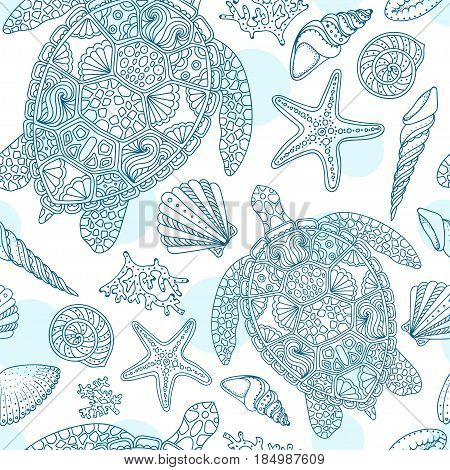 Seamless summer underwater pattern. Various shell algae starfish coral turtle on white dotted background. Vector illustration.
