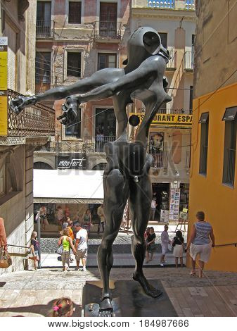 Figeras, Spain June 15, 2013:Sculpture by Dalí Honoring to Newton Close to the Dalí´s Theatre Museum, Figueres.Girona province. Catalonia. Spain