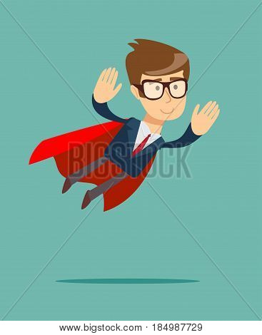 Super Businessman. Cartoon man in a cloak of Superman. Business concept illustration.