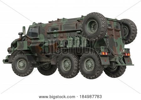 Truck military transport army car. 3D rendering