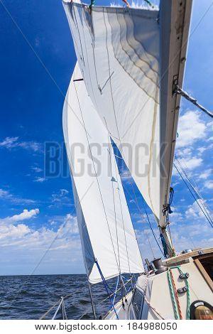Yachting Yacht Sailboat Sailing In Sea Ocean