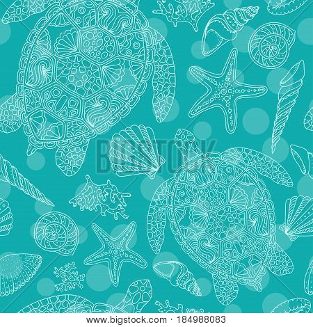 Seamless summer underwater pattern. Various shell algae starfish coral turtle on green background. Vector illustration.