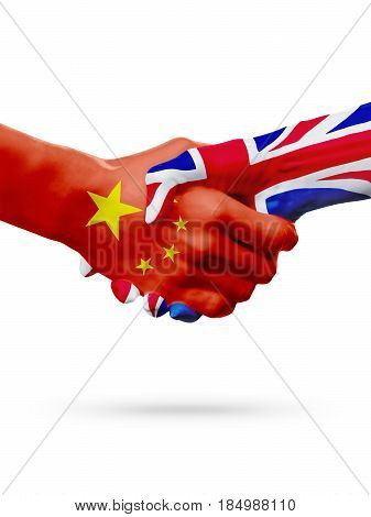 Flags China United Kingdom countries handshake cooperation partnership friendship or sports team competition concept isolated on white 3D illustration