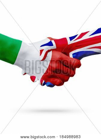 Flags Italy United Kingdom countries handshake cooperation partnership friendship or sports team competition concept isolated on white 3D illustration