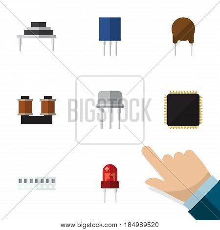 Flat Device Set Of Coil Copper, Memory, Receptacle And Other Vector Objects. Also Includes Electronics, Cpu, Transistor Elements.