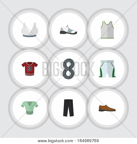 Flat Clothes Set Of Male Footware, Casual, Pants And Other Vector Objects. Also Includes Pants, Blouse, Trousers Elements.