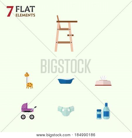 Flat Infant Set Of Nappy, Tissue, Bathtub And Other Vector Objects. Also Includes Baby, Tissue, Nappy Elements.