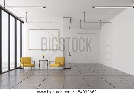 Empty Office, Yellow Armchairs And Poster