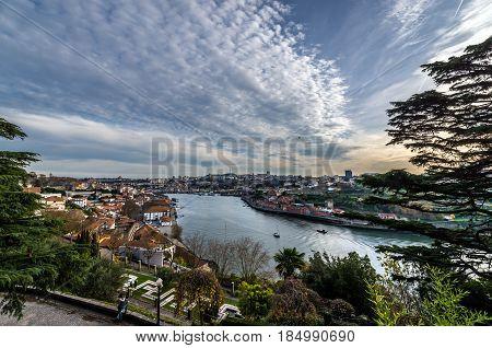 Douro River seen from Crystal Palace Gardens in Porto Portugal