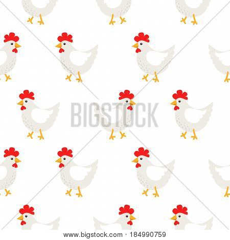 White hen rural seamless vector pattern. Farm birds simple rustic background texture.