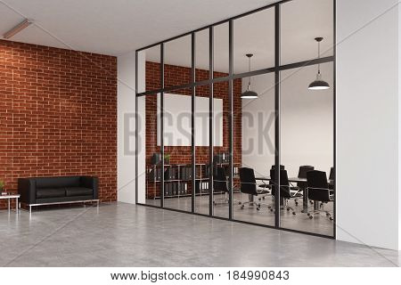 Office Waiting Area With Sofa, Brick