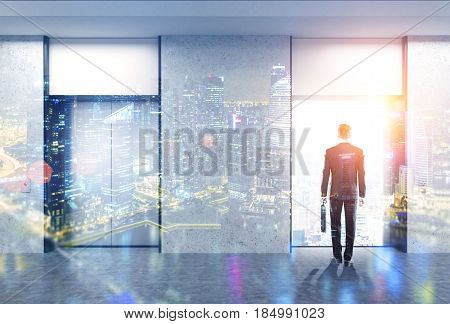 Businessman with a suitcase is standing in an elevator hall with two elevators. One is open and a cityscape is seen through. 3d rendering toned image double exposure