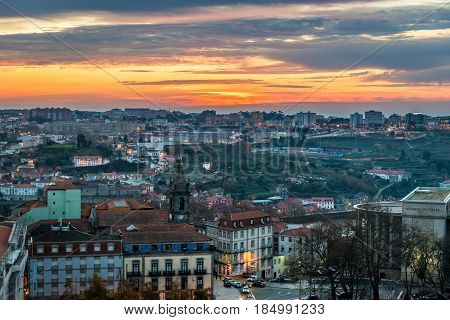 Evening in Porto city Portugal seen from Clerigos Tower