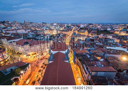 View from Clerigos Church tower on a Porto city Portugal