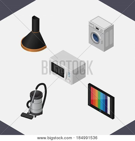 Isometric Appliance Set Of Laundry, Air Extractor, Microwave And Other Vector Objects. Also Includes Stove, Cleaner, Washing Elements.