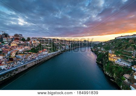 Aerial view on Douro River and cities od Porto (left) and Vila Nova de Gaia