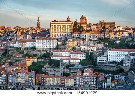 Porto city riverfront with Bishop's Palace. View from Vila Nova de Gaia Portugal