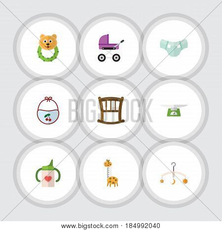 Flat Kid Set Of Toy, Infant Cot, Pinafore And Other Vector Objects. Also Includes Pampers, Mobile, Bottle Elements.