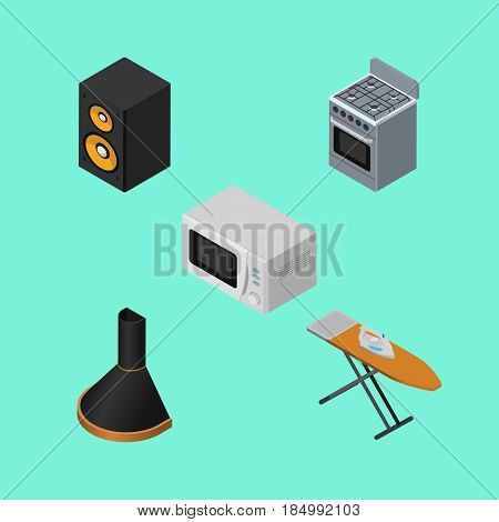 Isometric Electronics Set Of Air Extractor, Microwave, Music Box And Other Vector Objects. Also Includes Hood, Music, Extractor Elements.