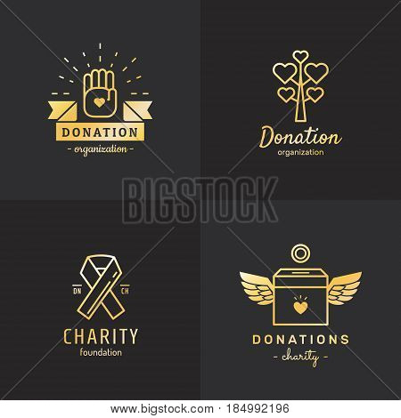 Donations and charity gold logo vintage vector set. Hipster and retro style. Part four.