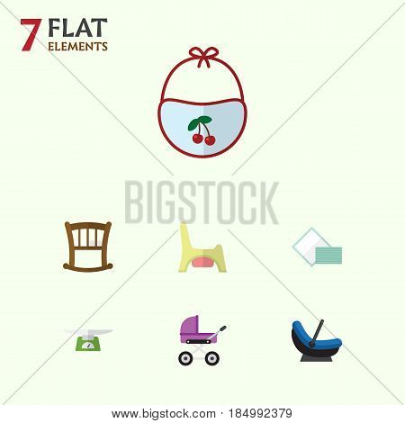 Flat Baby Set Of Children Scales, Infant Cot, Toilet And Other Vector Objects. Also Includes Pinafore, Cradle, Child Elements.