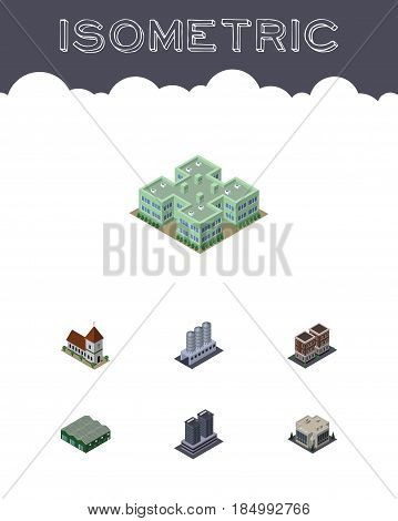 Isometric Architecture Set Of Water Storage, Chapel, Clinic And Other Vector Objects. Also Includes Catholic, Office, Clinic Elements.