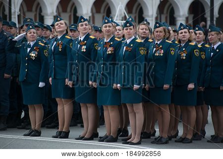 Yoshkar-Ola, Russia - May 4, 2017 General rehearsal of the Victory Parade in Yoshkar-Ola. The female regiment of the Ministry of Extraordinary Situations stands in line
